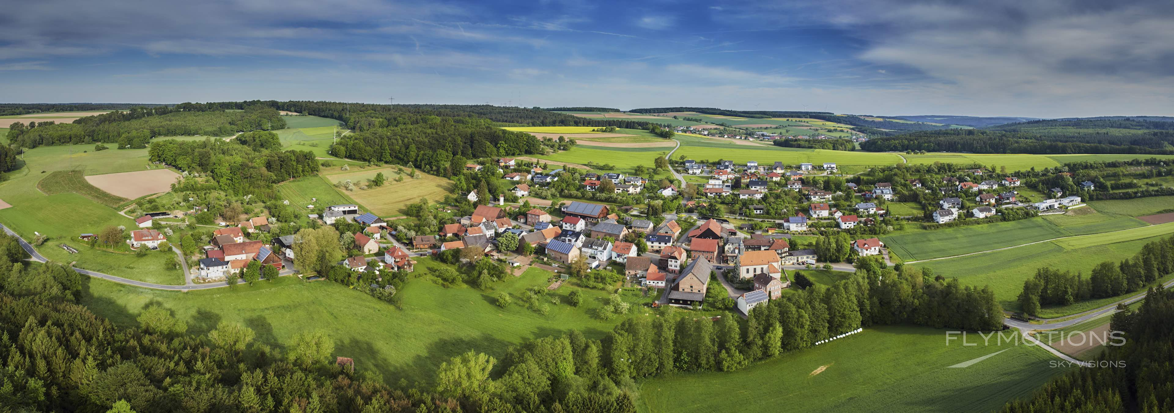 Buchen Odenwald after sunrise. Panoramic view. Drone.